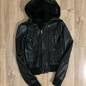 Vegan leather jacket w/ detachable hood